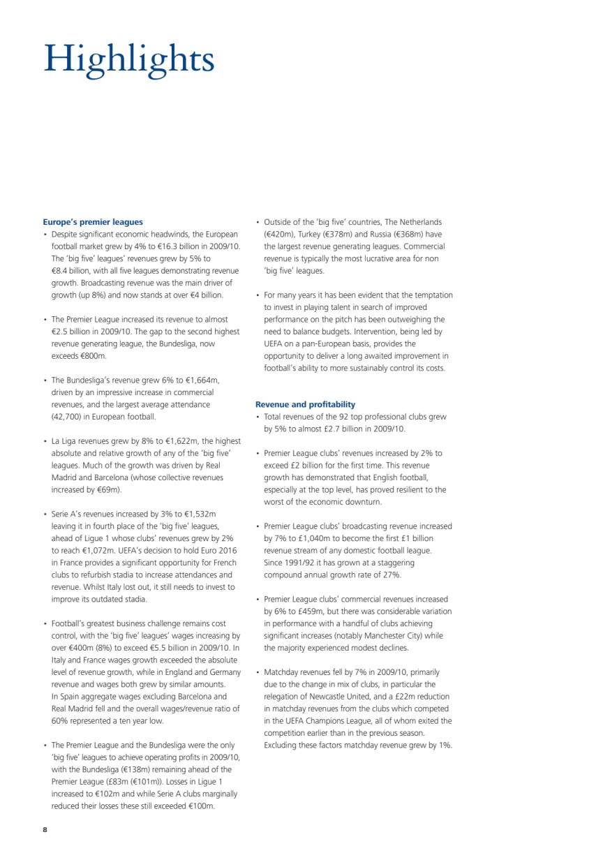 Annual Review Football Finance Highlight