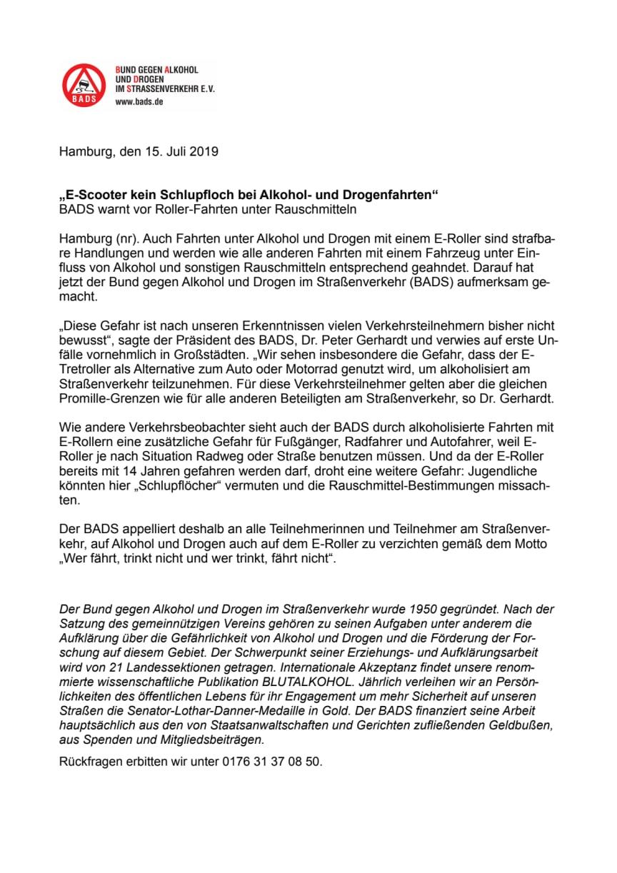 """""""E-Scooter kein Schlupfloch bei Alkohol- und Drogenfahrten"""""""