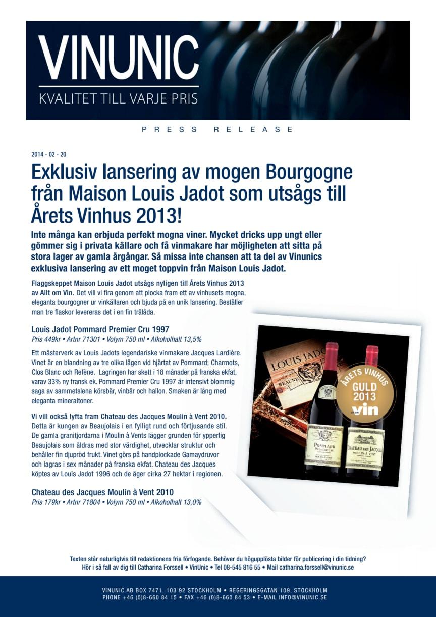 Exklusiv lansering av mogen Bourgogne från Maison Louis Jadot som utsågs till Årets Vinhus 2013!