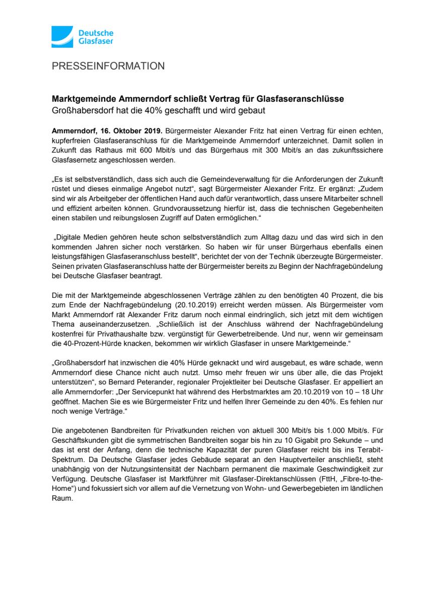 Marktgemeinde Ammerndorf schließt Vertrag für Glasfaseranschlüsse