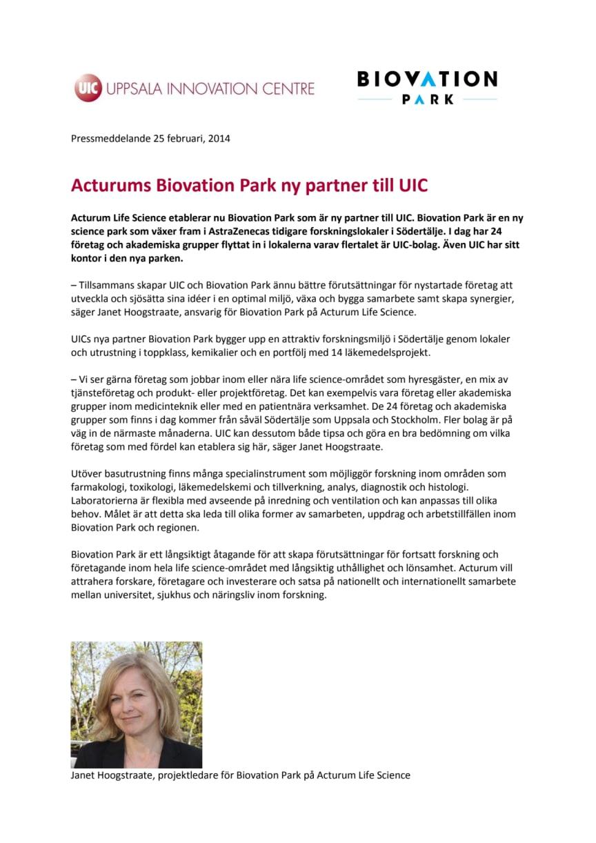 Acturums Biovation Park ny partner till UIC