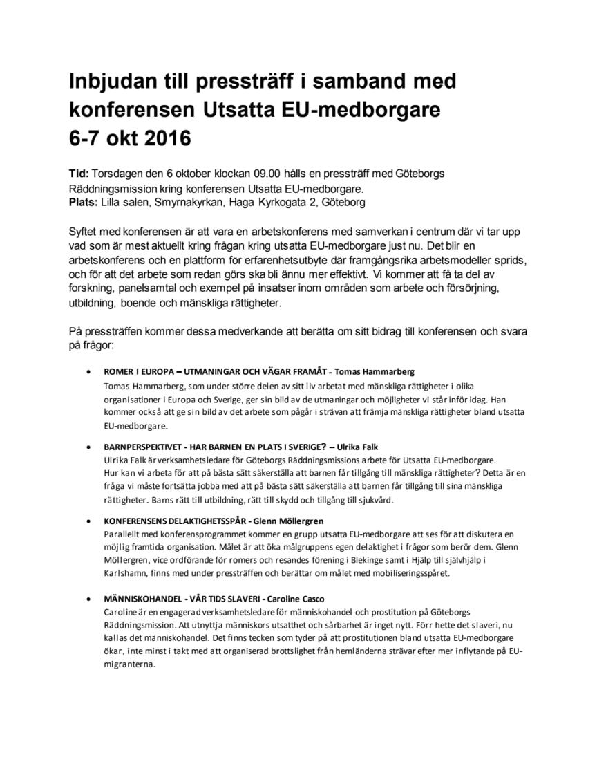Inbjudan till pressträff i samband med konferensen Utsatta EU-medborgare,  6-7 okt 2016
