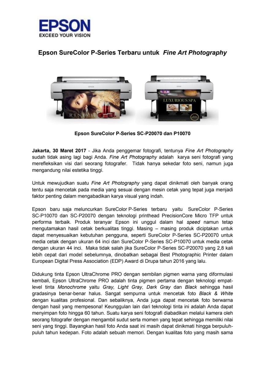 Epson SureColor P-Series Terbaru untuk  Fine Art Photography