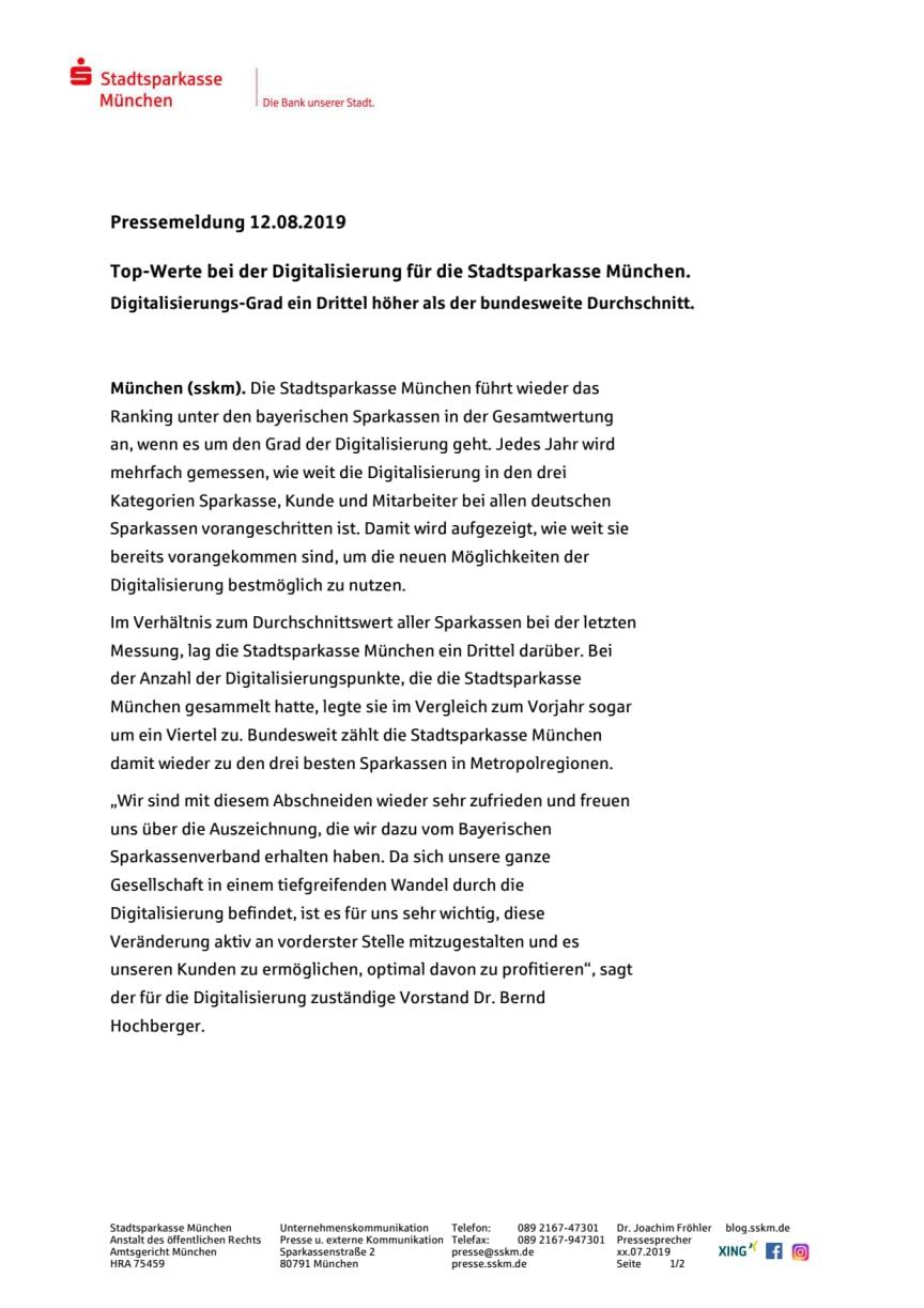 Top-Werte bei der Digitalisierung für die Stadtsparkasse München