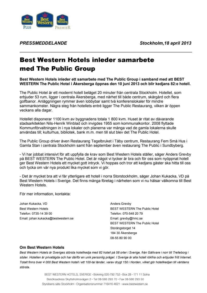 Best Western Hotels inleder samarbete med The Public Group