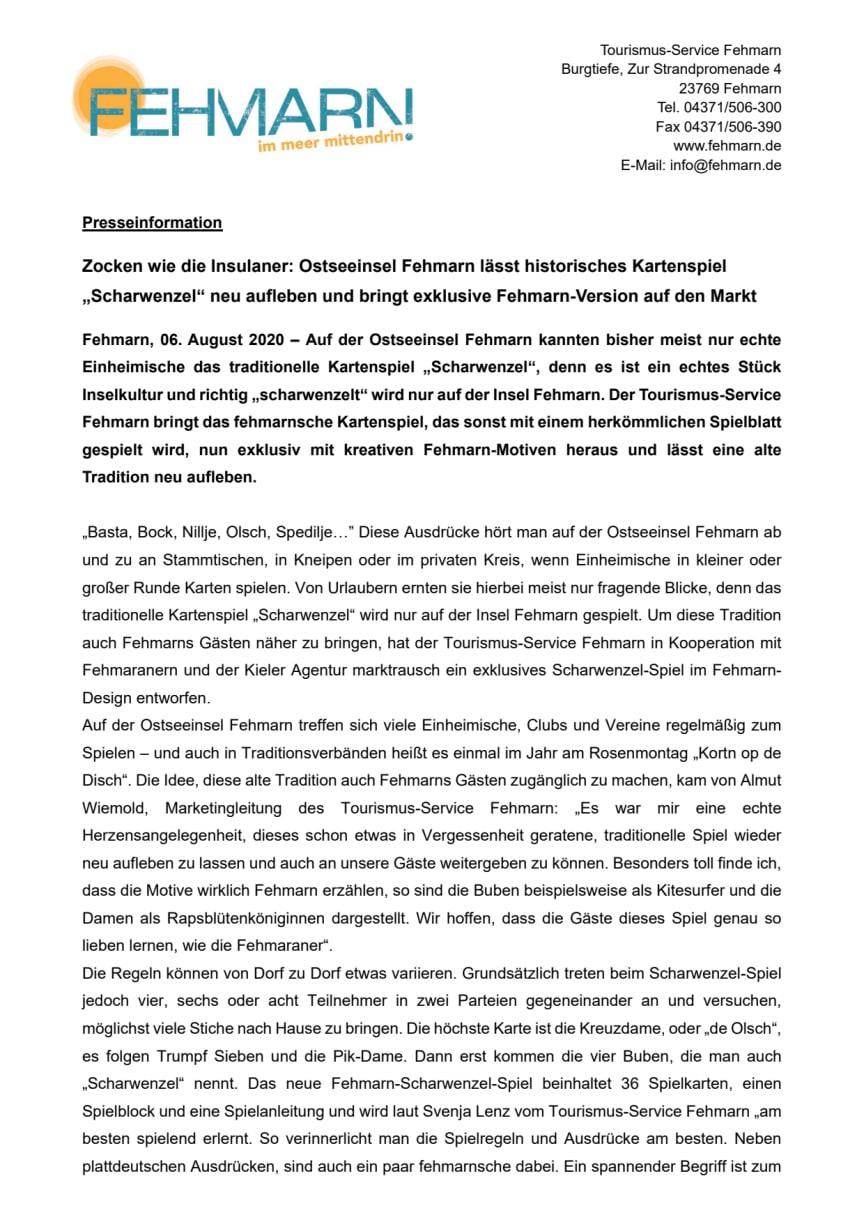 """Zocken wie die Insulaner: Ostseeinsel Fehmarn lässt historisches Kartenspiel """"Scharwenzel"""" neu aufleben und bringt exklusive Fehmarn-Version auf den Markt"""