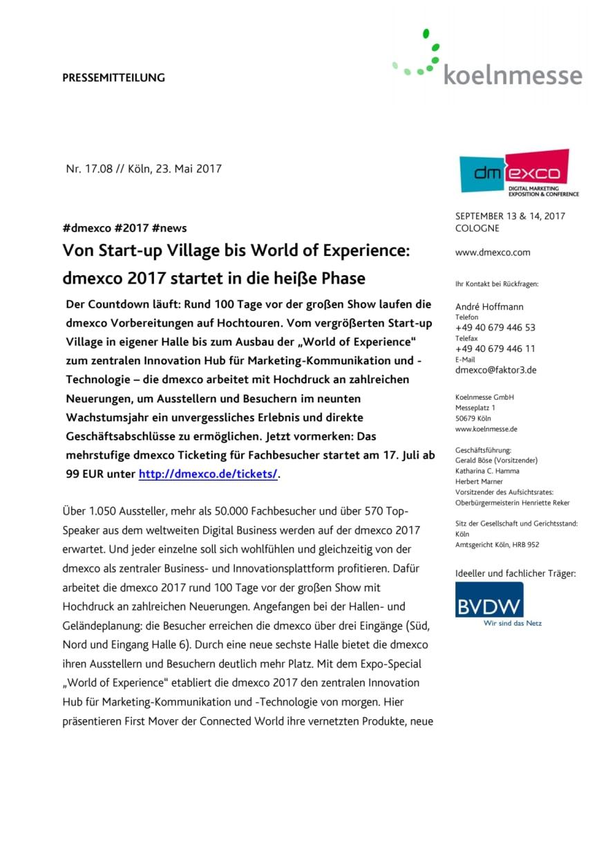Von Start-up Village bis World of Experience: dmexco 2017 startet in die heiße Phase