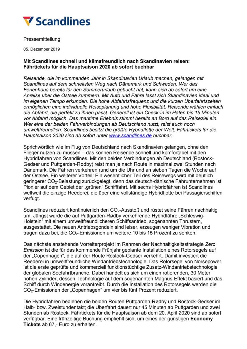 Mit Scandlines schnell und klimafreundlich nach Skandinavien reisen: Fährtickets für die Hauptsaison 2020 ab sofort buchbar