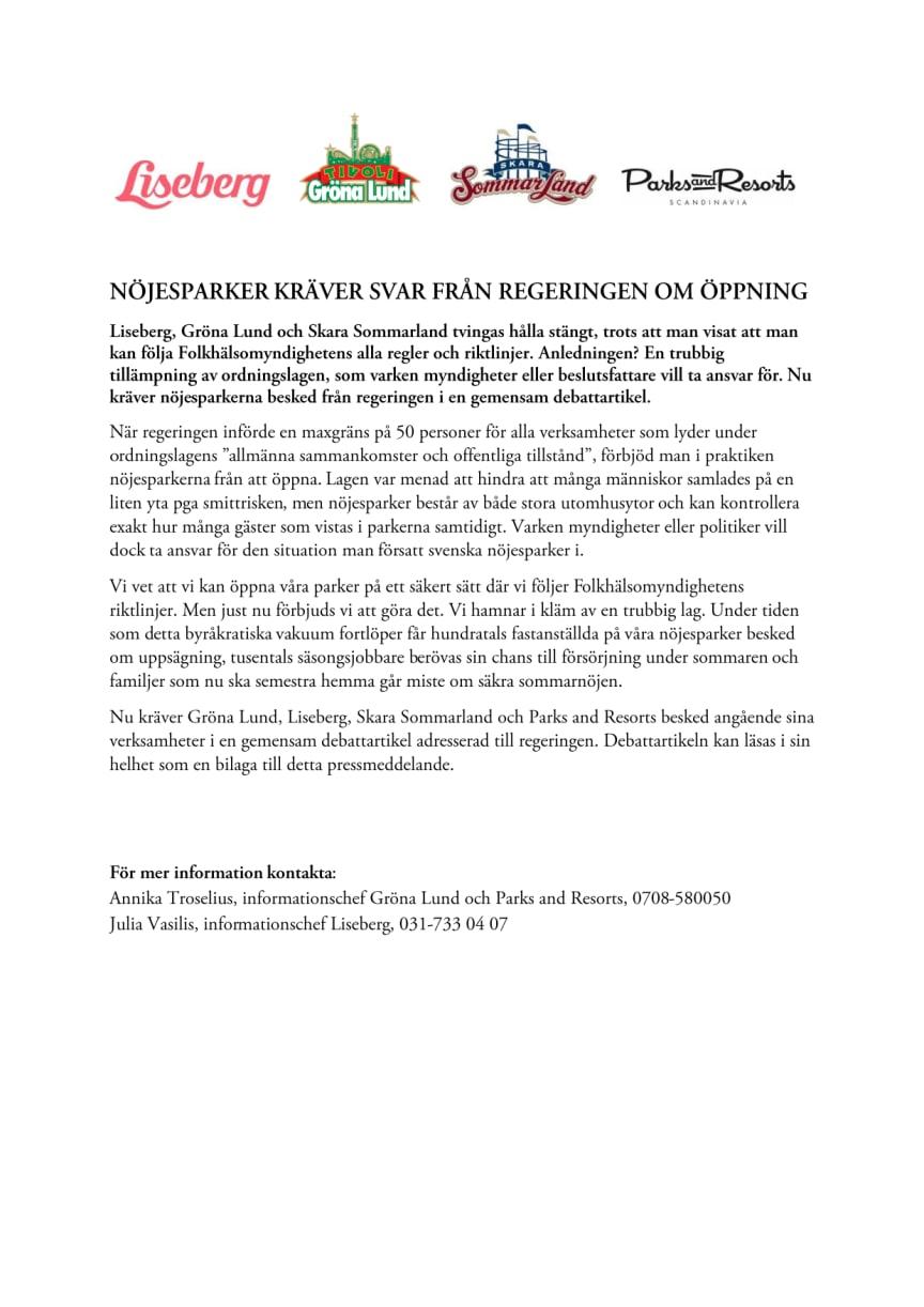 Nöjesparker kräver svar från regeringen om öppning