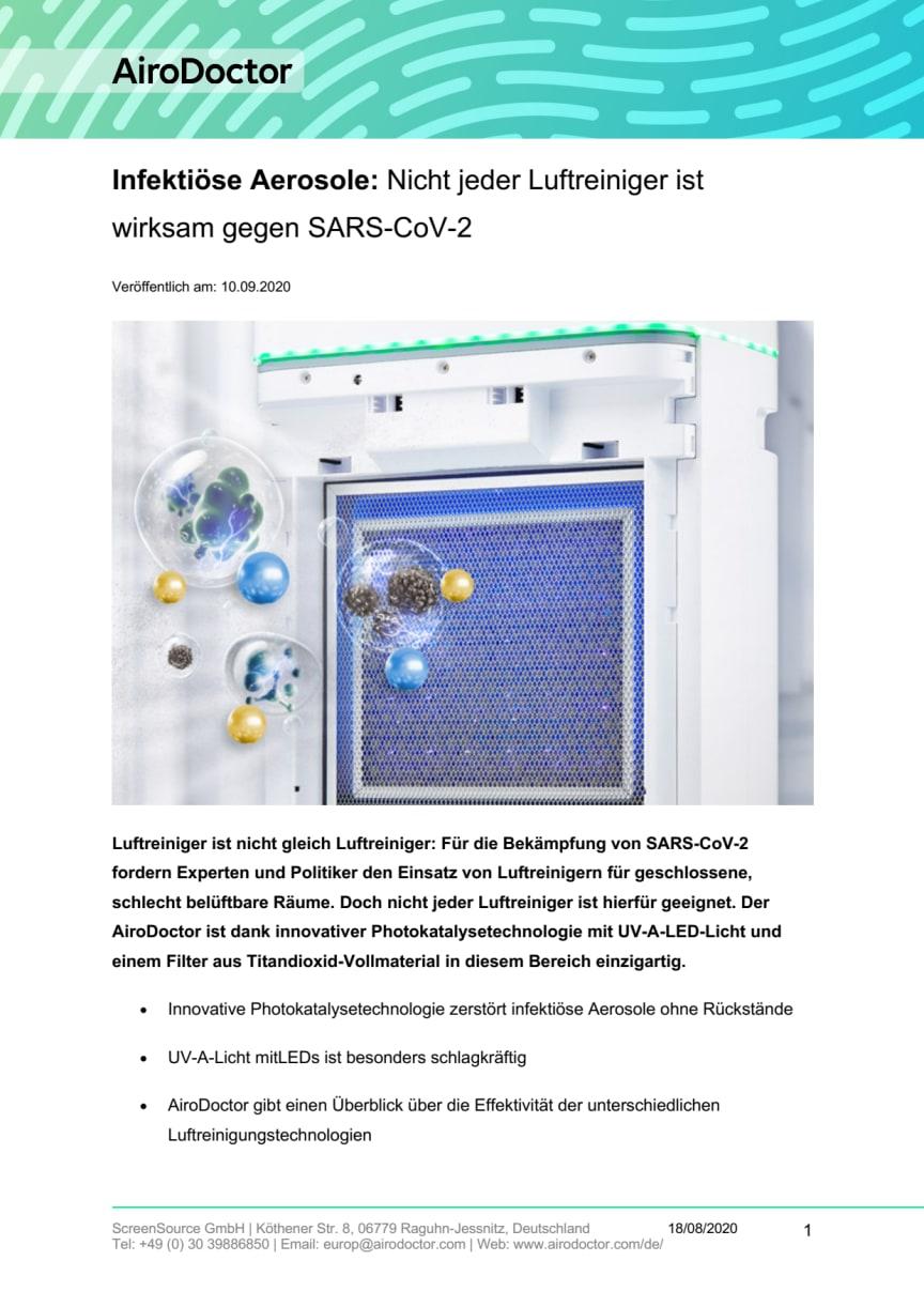 AiroDoctor Infektiöse Aerosole - Nicht jeder Luftreiniger ist wirksam gegen SARS-CoV-2 10.09.2020.pdf