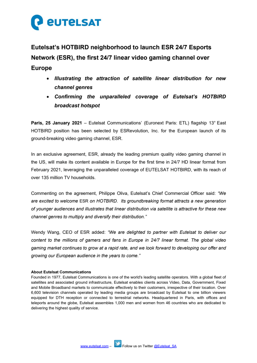 Eutelsat's HOTBIRD neighborhood to launch ESR 24/7 Esports Network (ESR), the first 24/7 linear video gaming channel over Europe