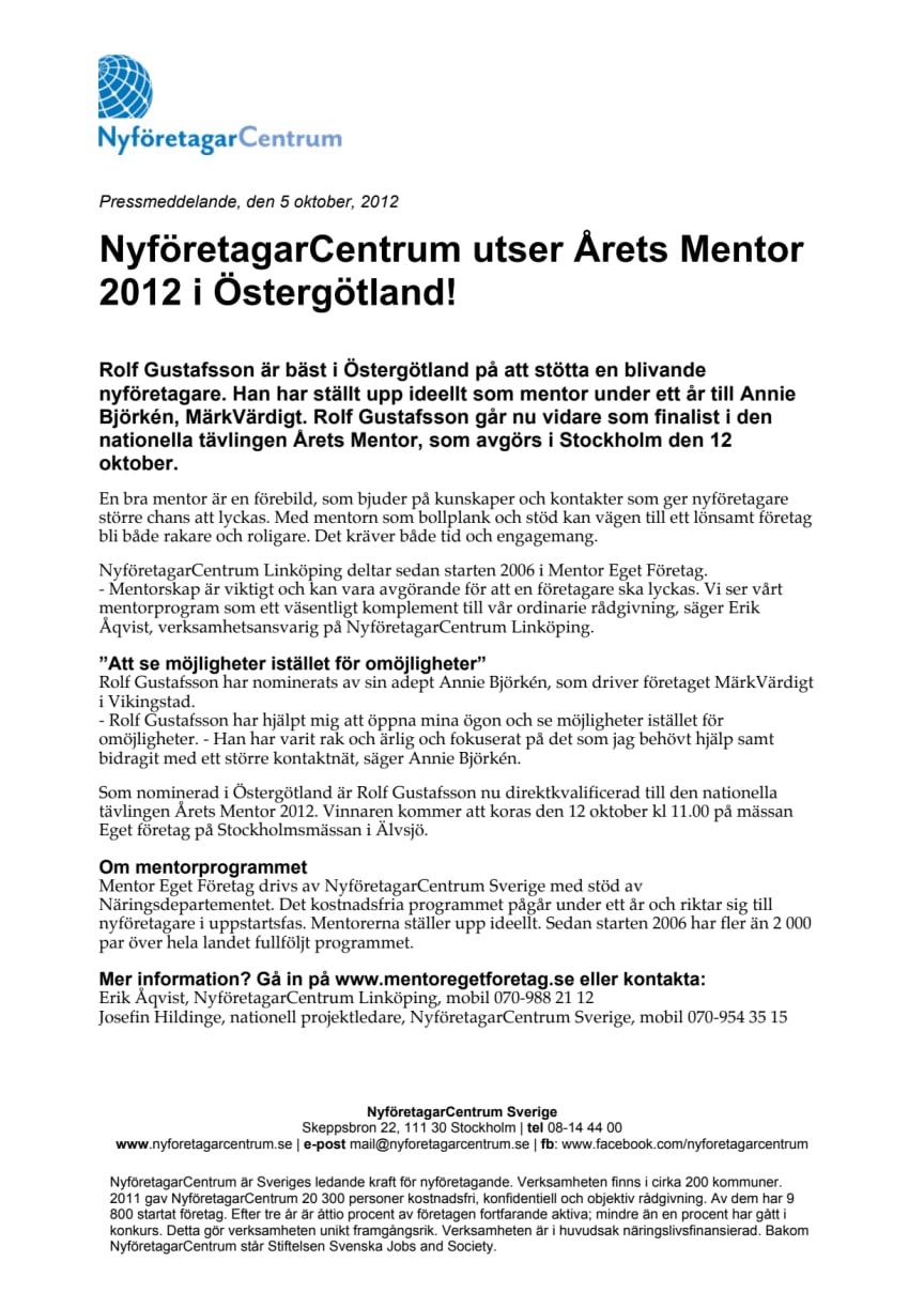 NyföretagarCentrum utser Årets Mentor 2012 i Östergötland!