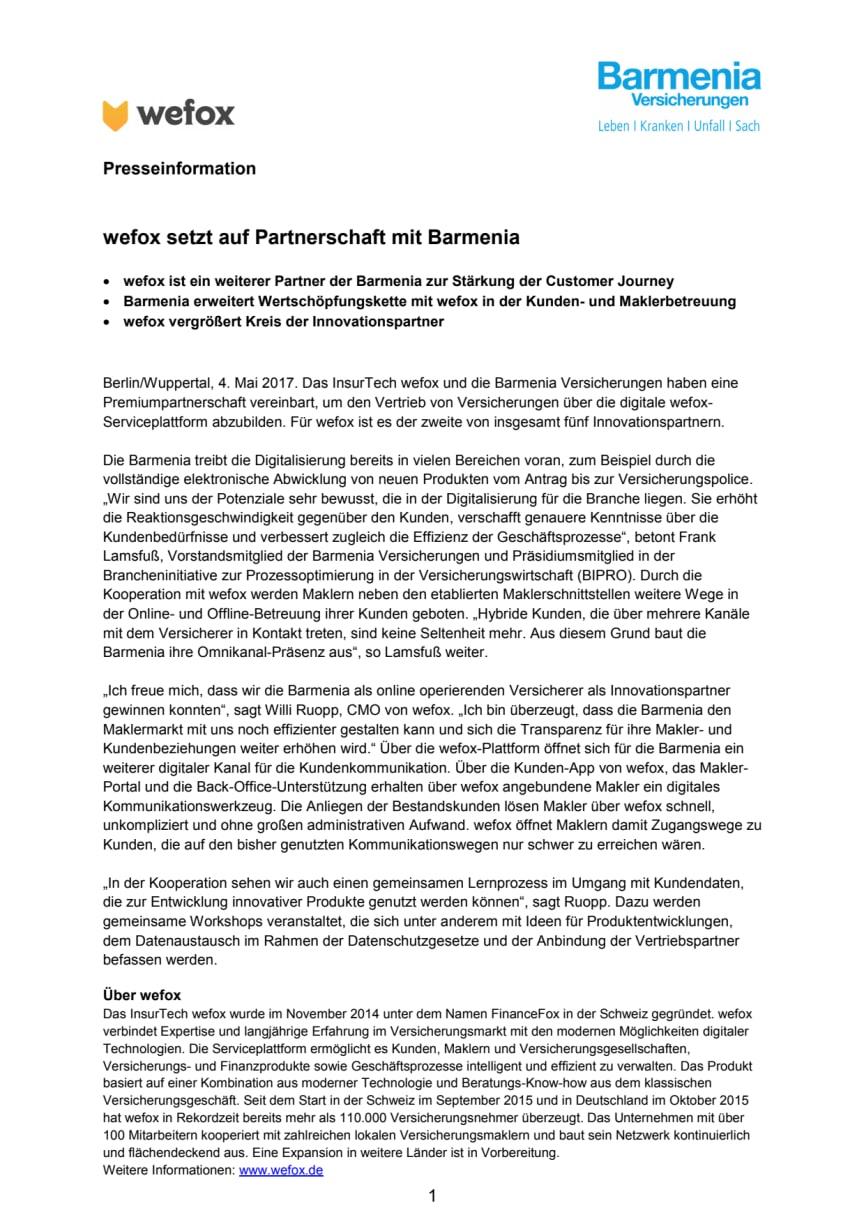 wefox setzt auf Partnerschaft mit Barmenia