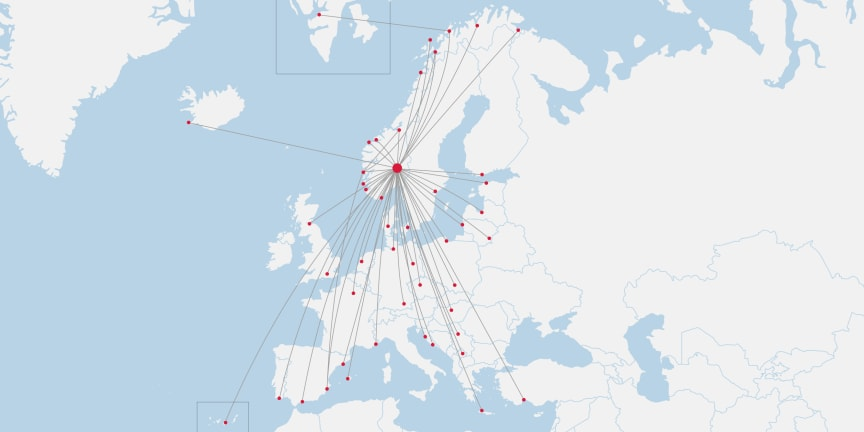 Norwegians linjenät i Norge från 1 juli 2020