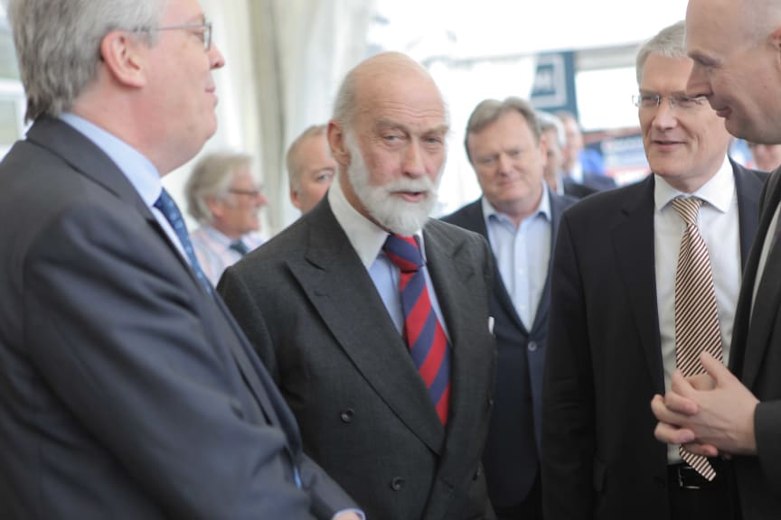 Prince Michael of Kent and Andrew Jones MP at the London Motor Show