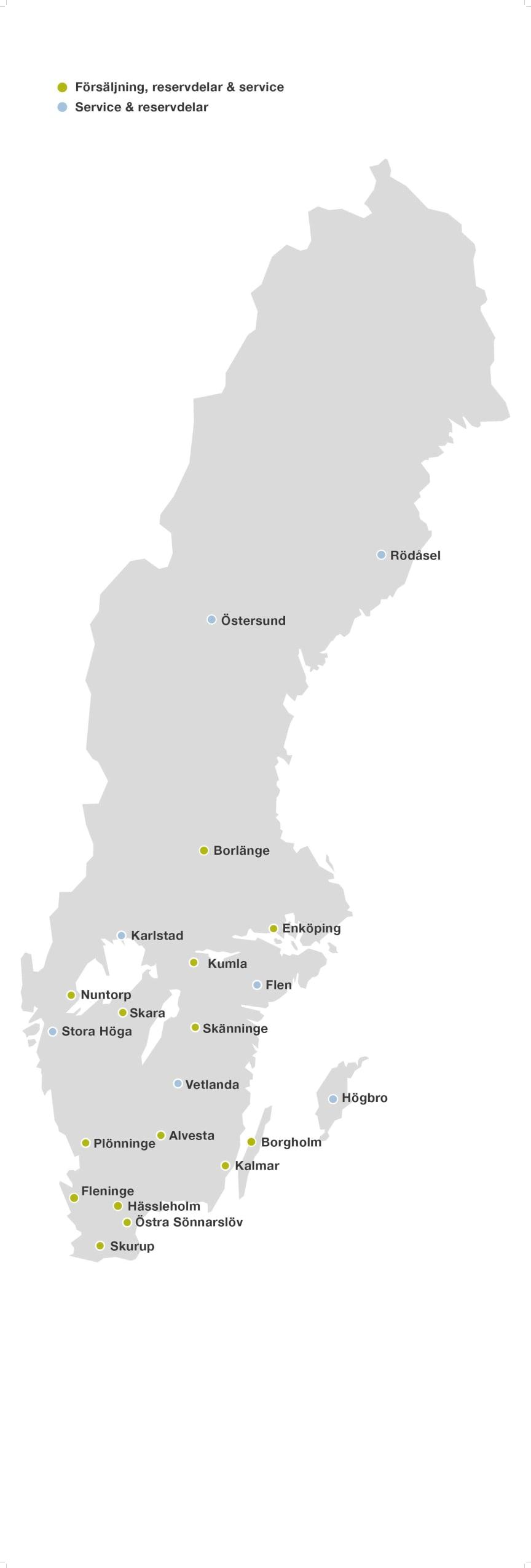 Swedish Agro Machinerys egna anläggningar och servicepartner.