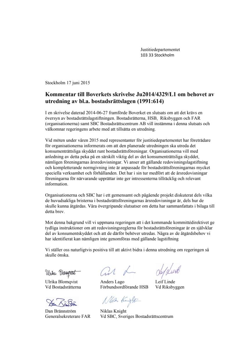 Brev till Justitiedepartementet om översyn av bostadsrättslagstiftningen