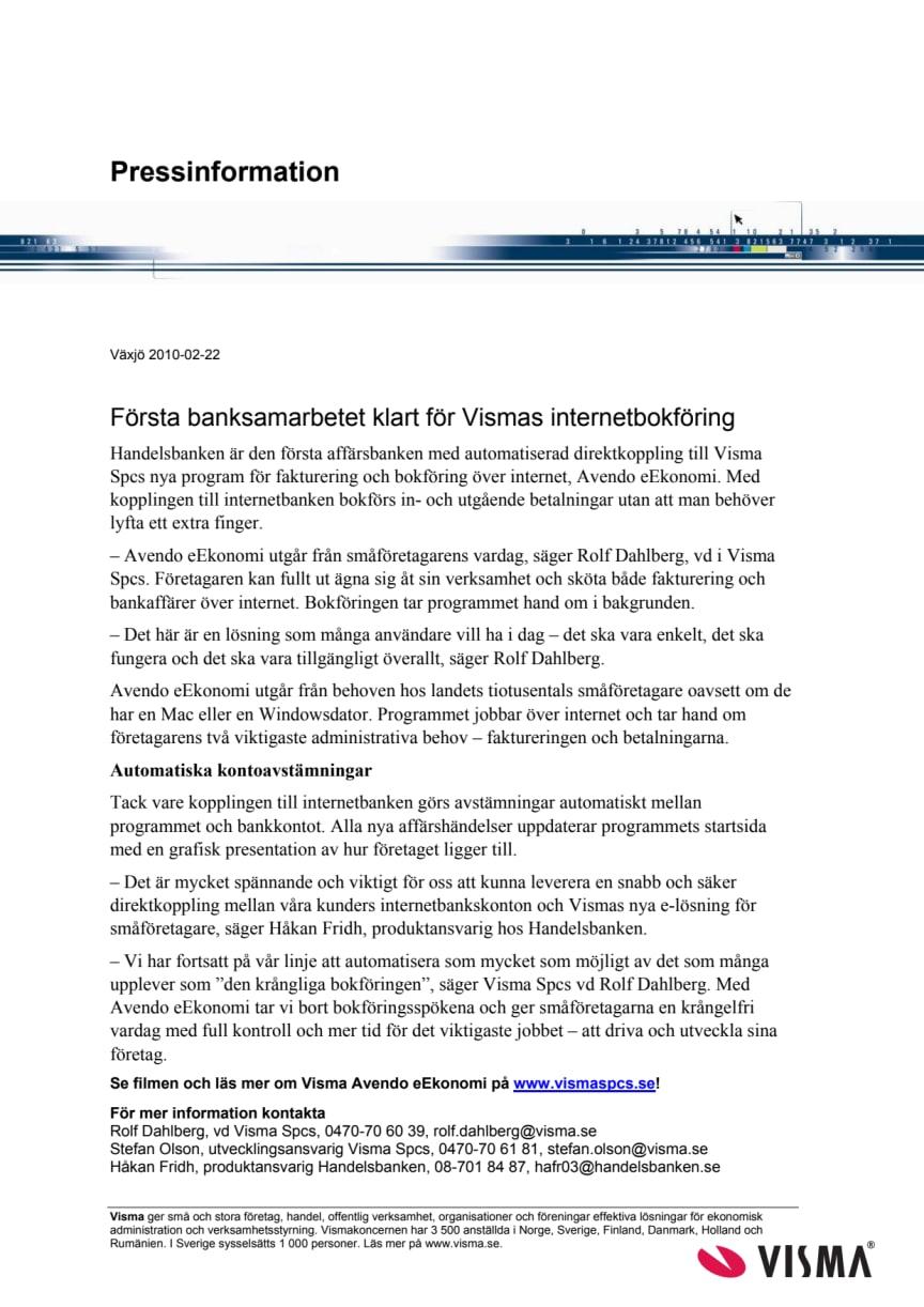 Första banksamarbetet klart för Vismas internetbokföring
