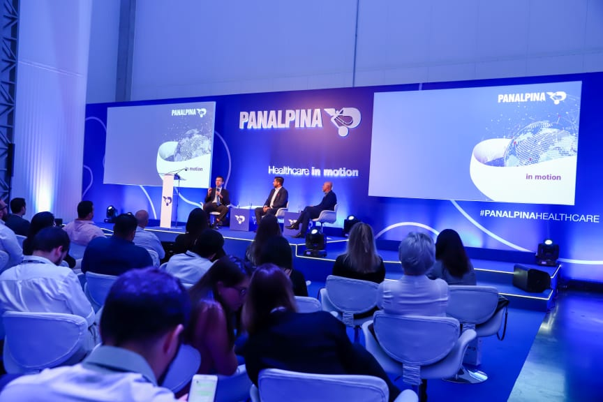 Brazilian officials speaking at the opening of the Panalpina healthcare logistics center in Sao Paulo