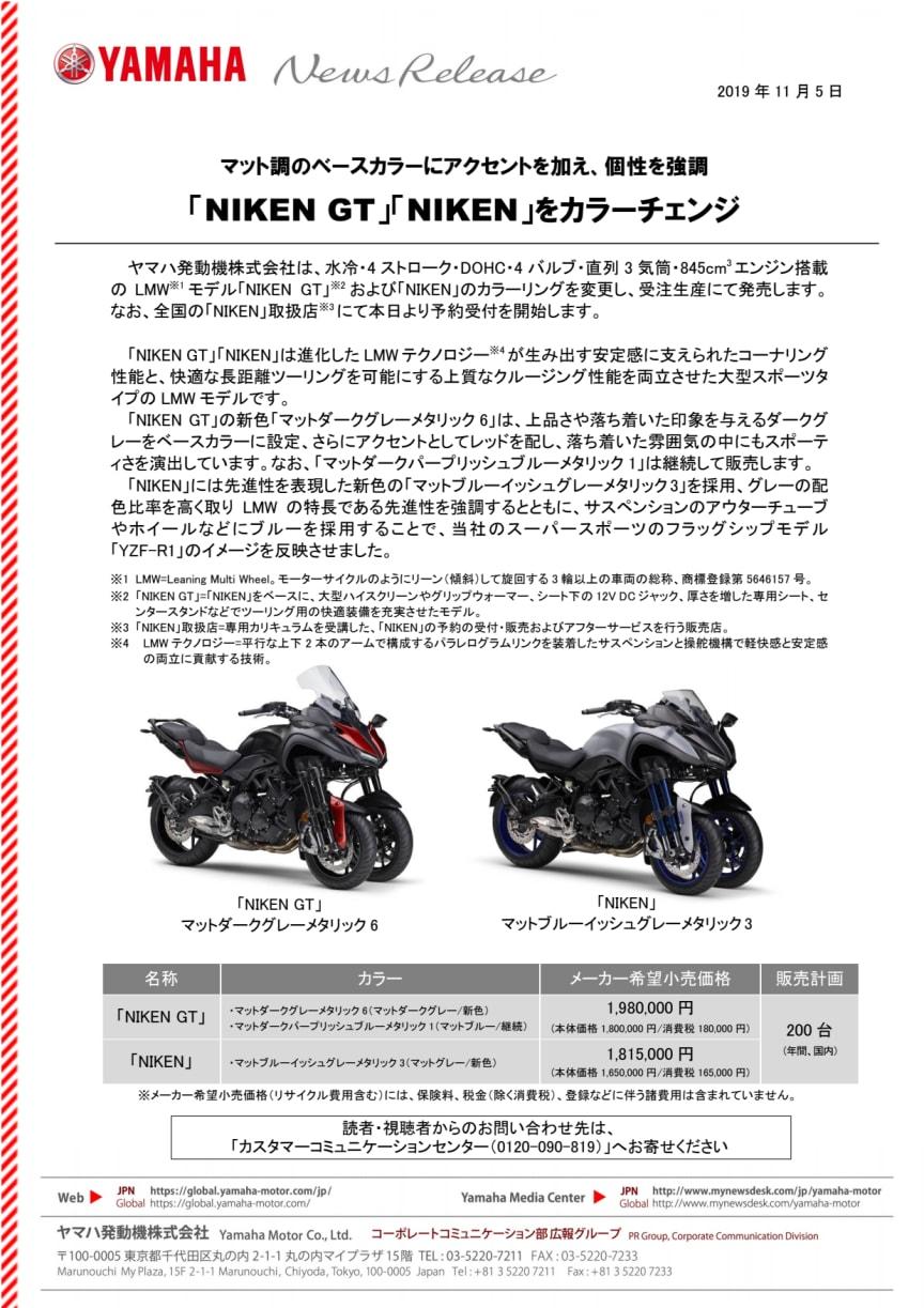 「NIKEN GT」「NIKEN」をカラーチェンジ マット調のベースカラーにアクセントを加え、個性を強調