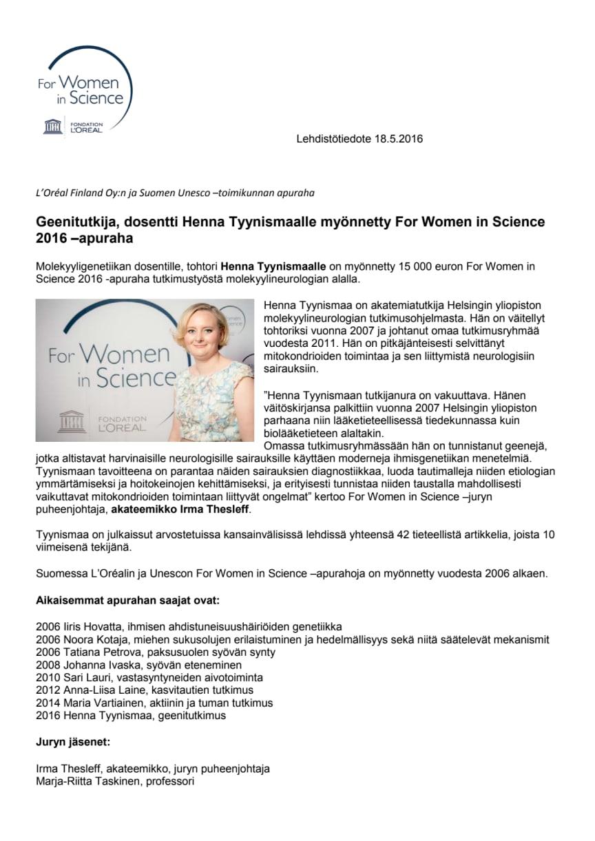 Henna Tyynismaa, For Women in Science -apurahan saaja 2016