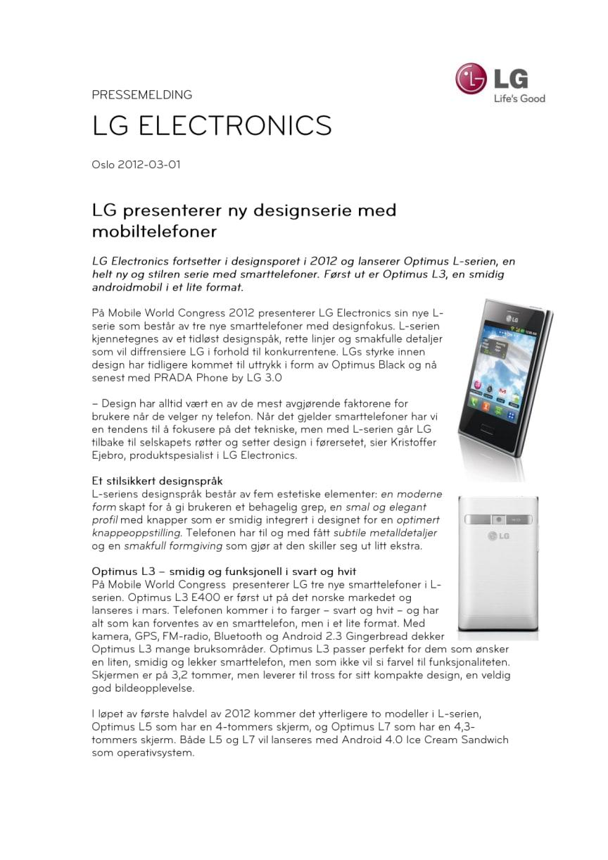 LG presenterer ny designserie med mobiltelefoner