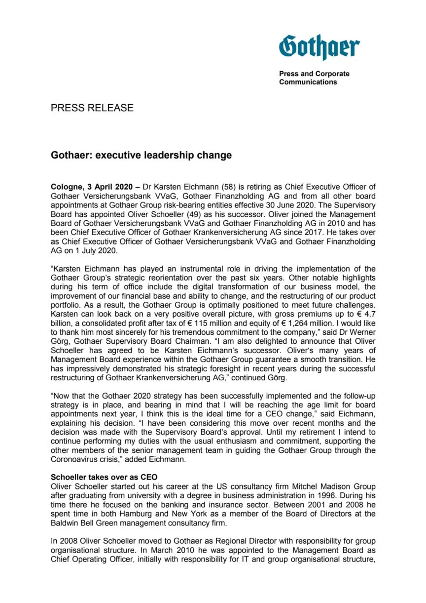 Press Release: executive leadership change