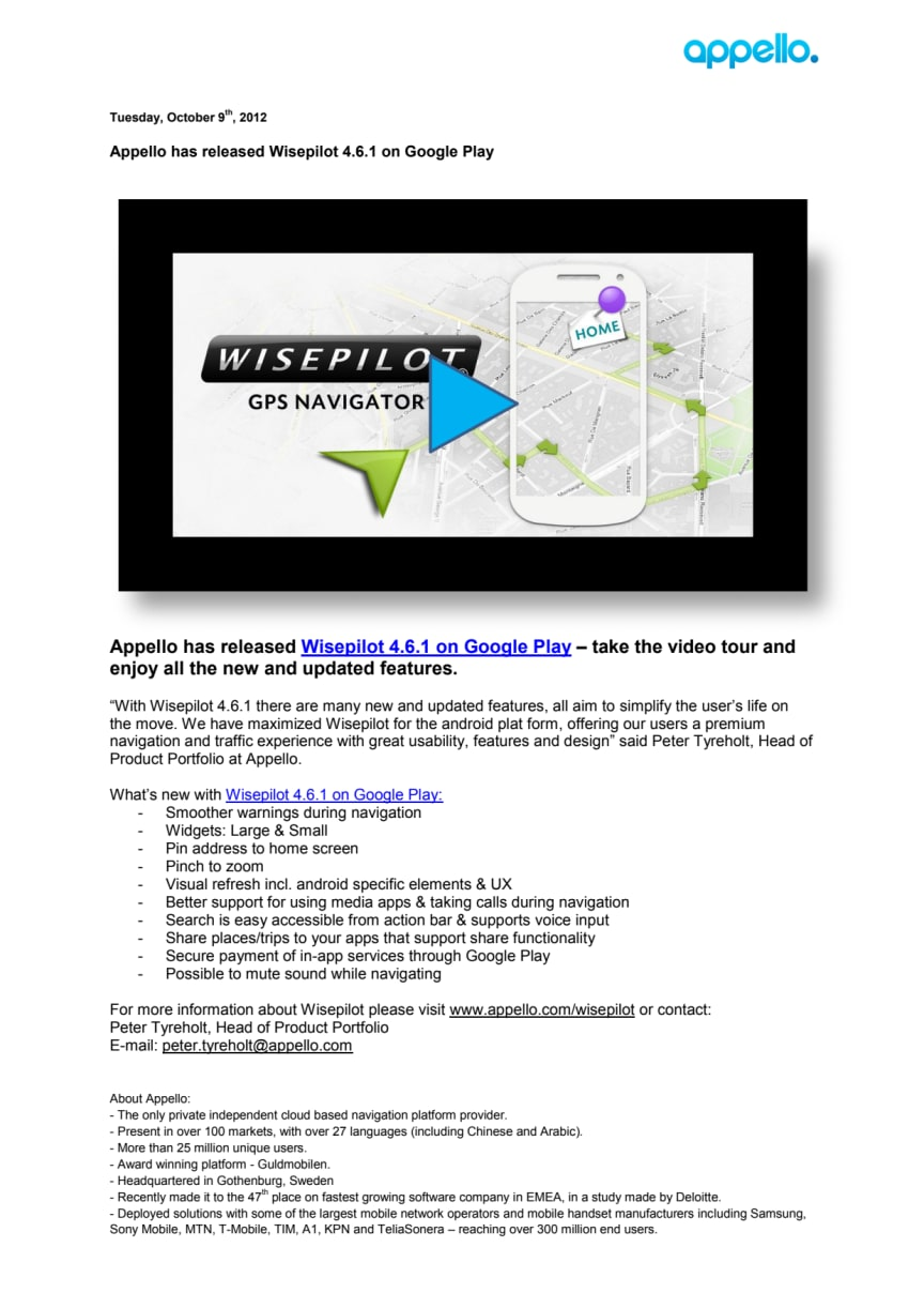 Appello has released Wisepilot 4.6.1 on Google Play