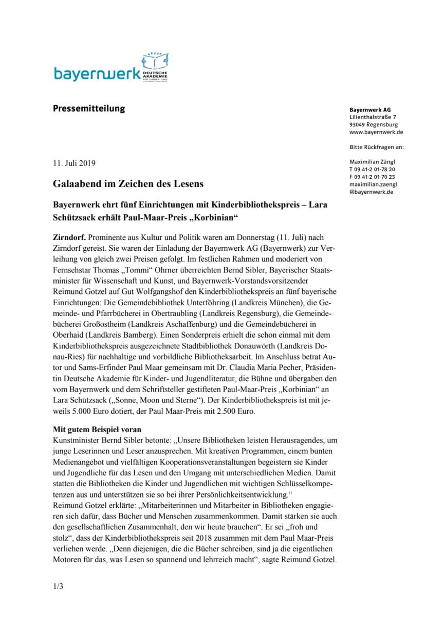 """Galaabend im Zeichen des Lesens - Bayernwerk ehrt fünf Einrichtungen mit Kinderbibliothekspreis - Lara Schützsack erhält Paul Maar-Preis """"Korbinian"""""""
