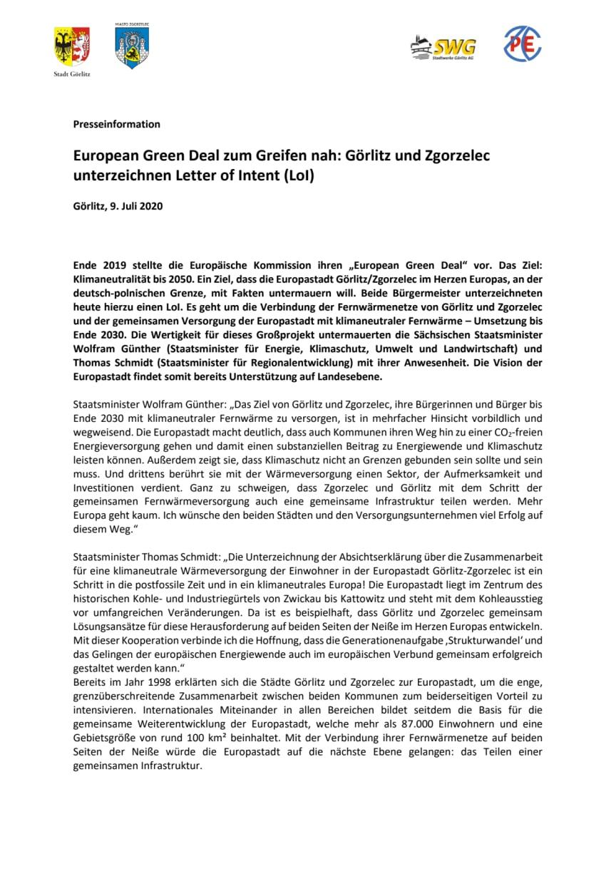 Ausbau der klimaneutralen Fernwärmeversorgung: Görlitz und Zgorzelec unterzeichnen Letter of Intent