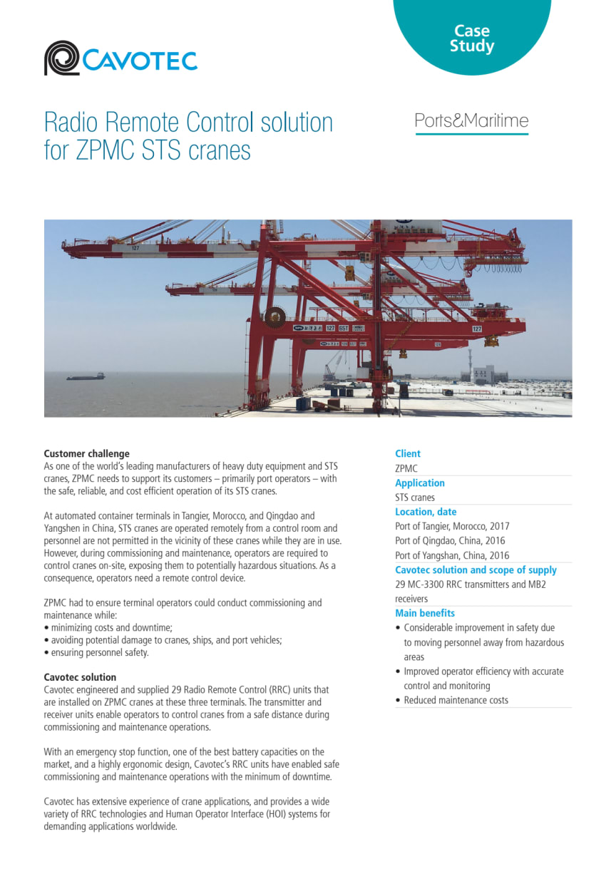 Cavotec RRCs deliver safety, efficiency gains for ZPMC