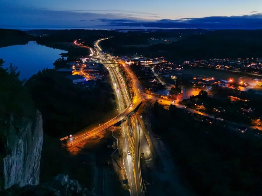 E18 Rugtvedt - Dørdal - Rugtvedt by night