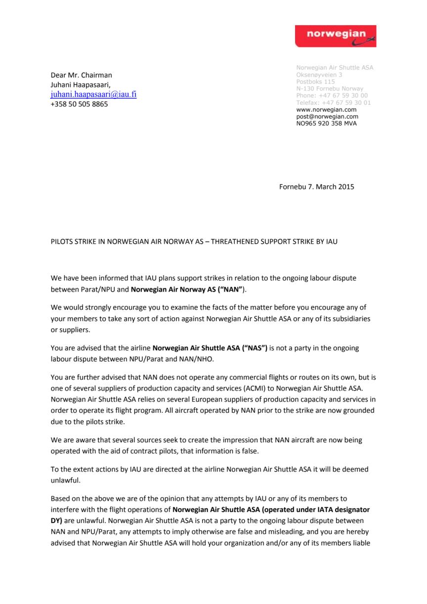 Norwegianin kirje IAU:lle