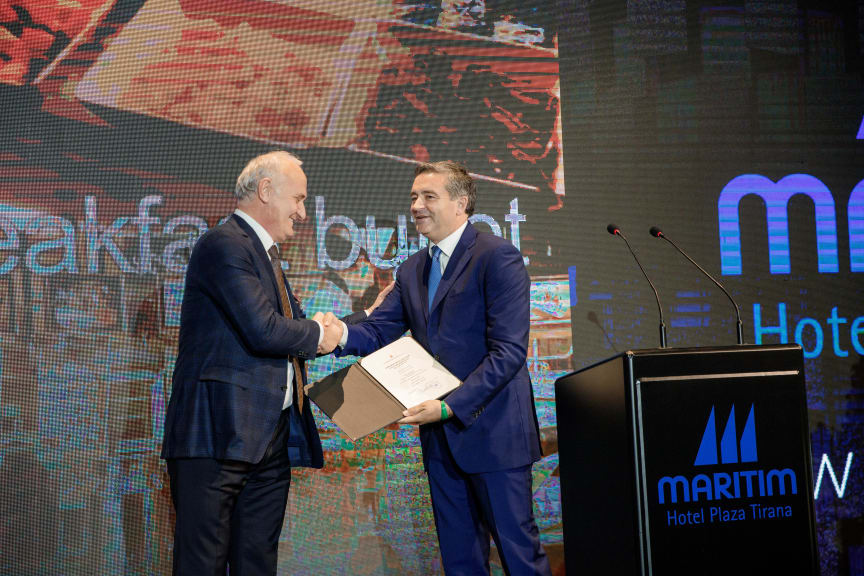 Blendi Klosi, tourism minister Albania (right) and Behar Male, General Manager Maritim Hotel Plaza Tirana.
