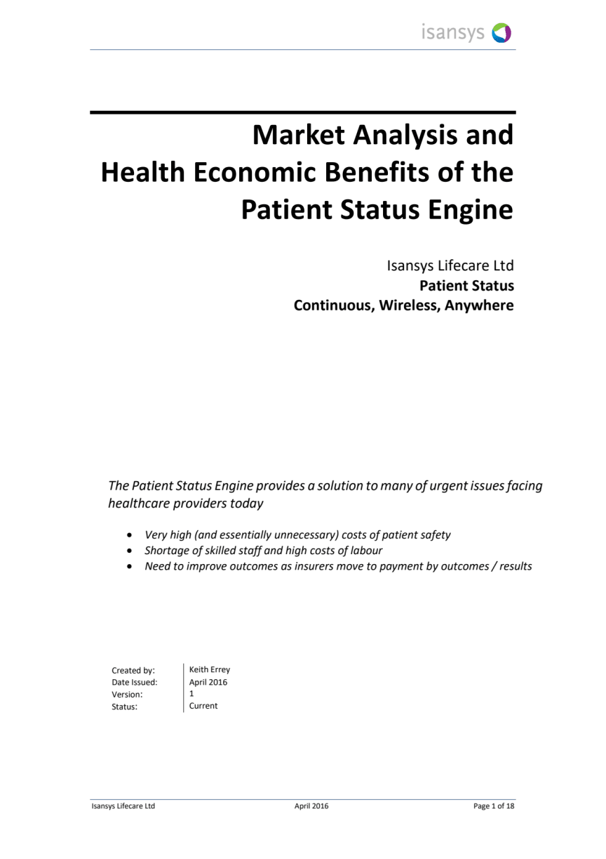 Market Analysis and  Health Economic Benefits of the  Patient Status Engine