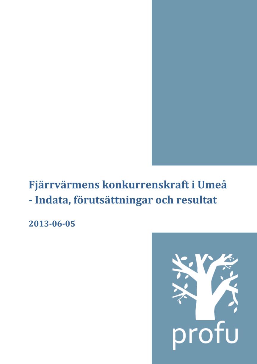 Fjärrvärmens konkurrenskraft i Umeå - Indata, förutsättningar och resultat (2013-06-05)
