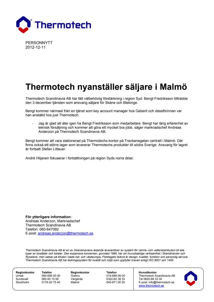 Personnytt - Thermotech nyanställer i Malmö