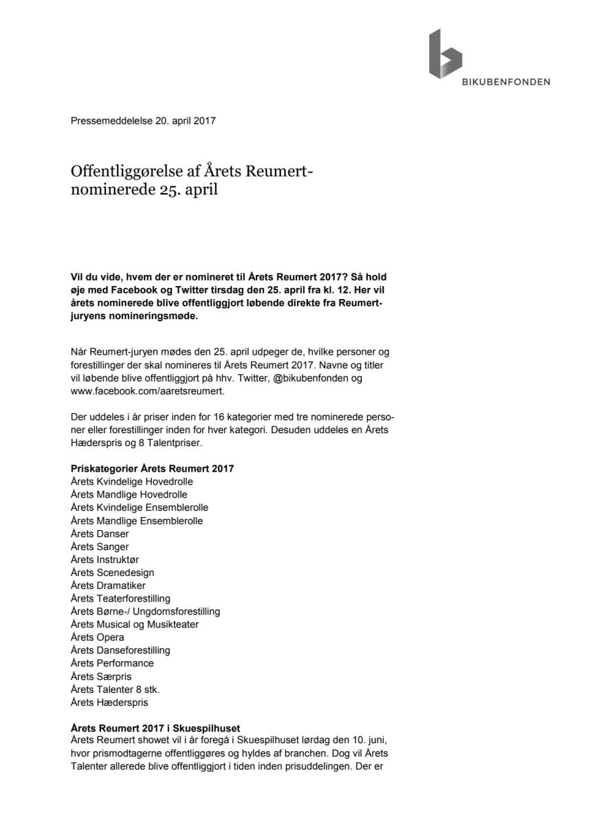 Offentliggørelse af Årets Reumert-nominerede 25. april