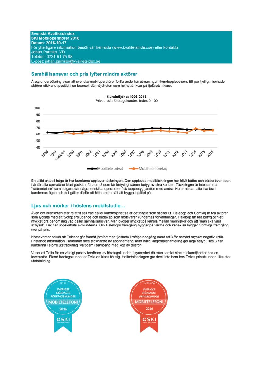 Samhällsansvar och pris lyfter mindre aktörer - Svenskt Kvalitetsindex om mobilöperatörer 2016