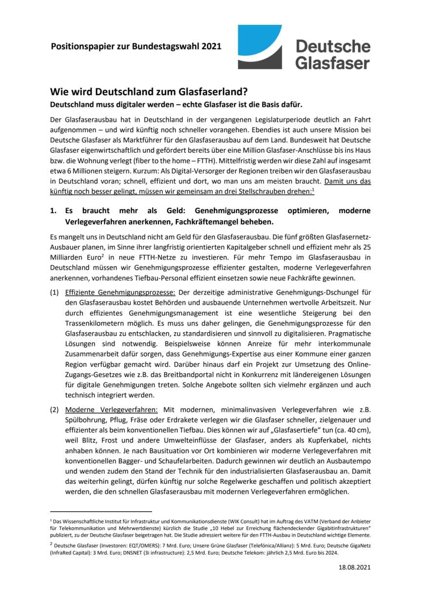 Positionspapier Bundestagswahl 2021 - Wie wird Deutschland zum Glasfaserland?
