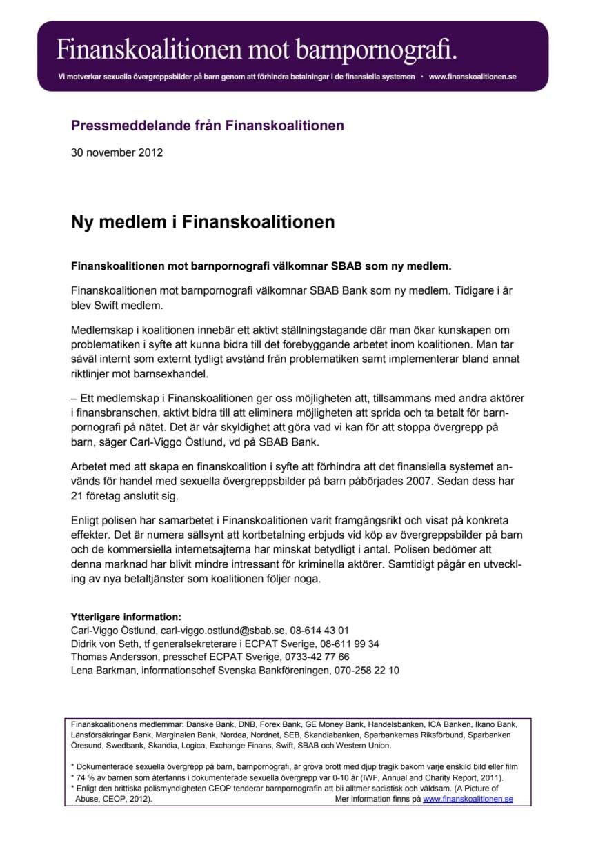 Ny medlem i Finanskoalitionen