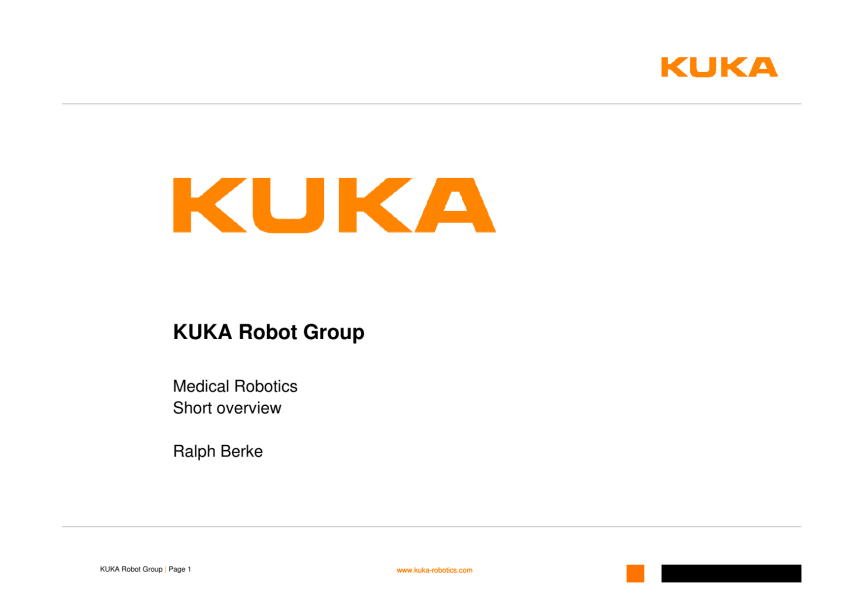 KUKA Overview Medical Robotics