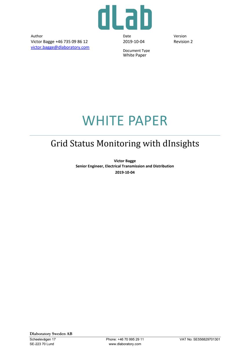 Grid Status Monitoring with dInsights