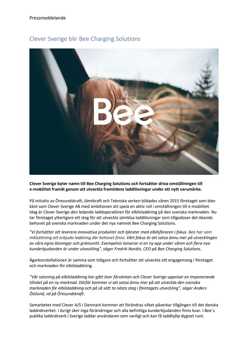 Clever Sverige byter namn till Bee Charging Solutions