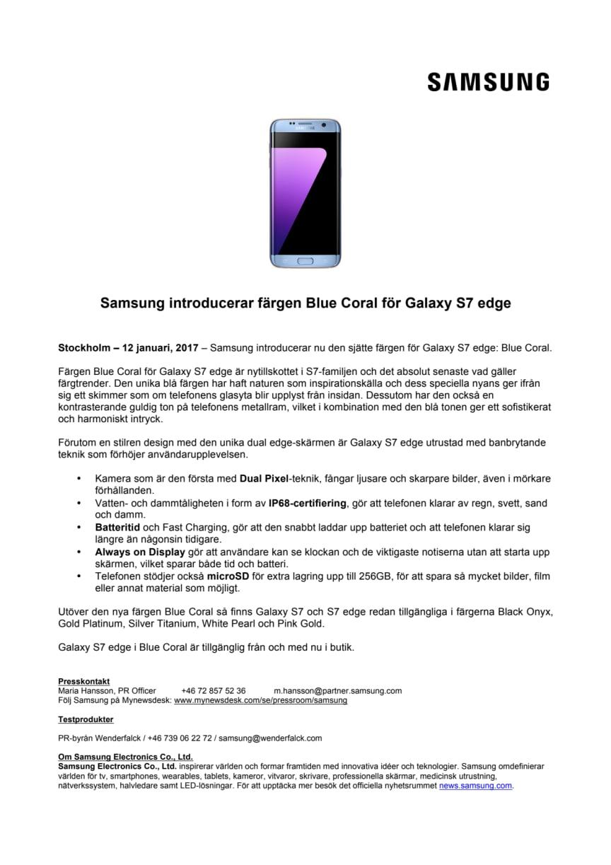 Samsung introducerar färgen Blue Coral för Galaxy S7 edge