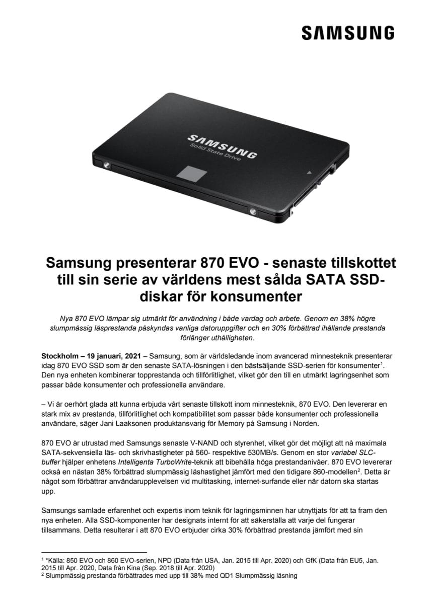 Samsung presenterar 870 EVO - senaste tillskottet till sin serie av världens mest sålda SATA SSD-diskar för konsumenter