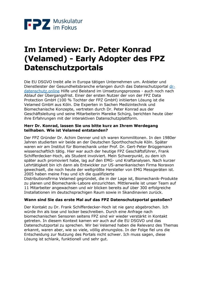 Im Interview: Dr. Peter Konrad (Velamed) - Early Adopter des FPZ Datenschutzportals