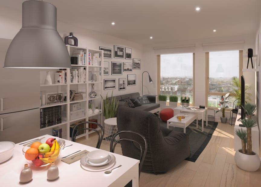 Illustration av interiör i de kommande BoKlok-hemmen i England.
