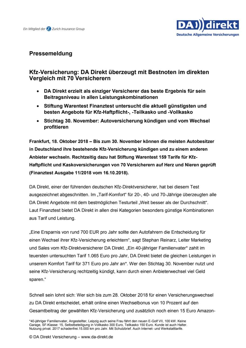 Kfz-Versicherung: DA Direkt überzeugt mit Bestnoten im direkten Vergleich mit 70 Versicherern