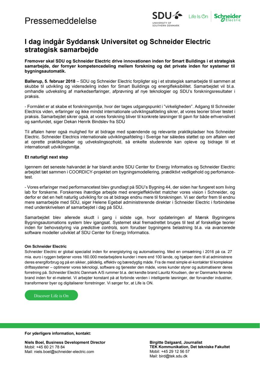 Syddansk Universitet og Schneider Electric indgår strategisk samarbejde
